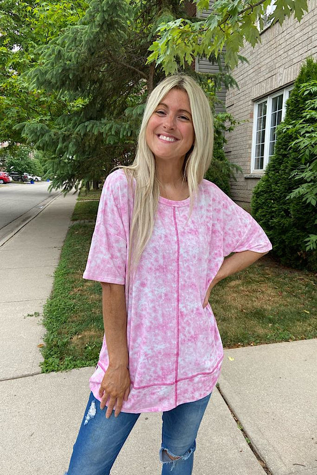 Wow In Pink Tie Dye Tunic Top-Flash Sale