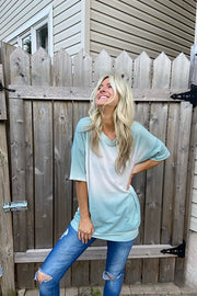 Ombre Waffle Mint Tunic Top