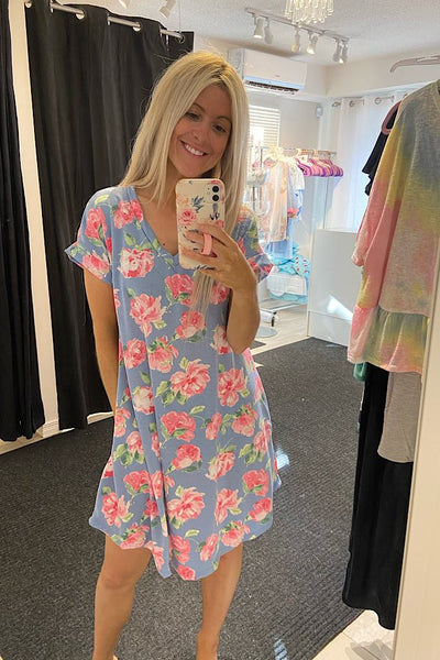Baby Blue Aqua Mix Foral T- Shirt Dress