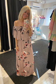 Beautiful Mauve Floral Off The Shoulder Maxi Dress