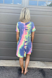 Tie Dye Casual French Terry Dresses- Purple Mix
