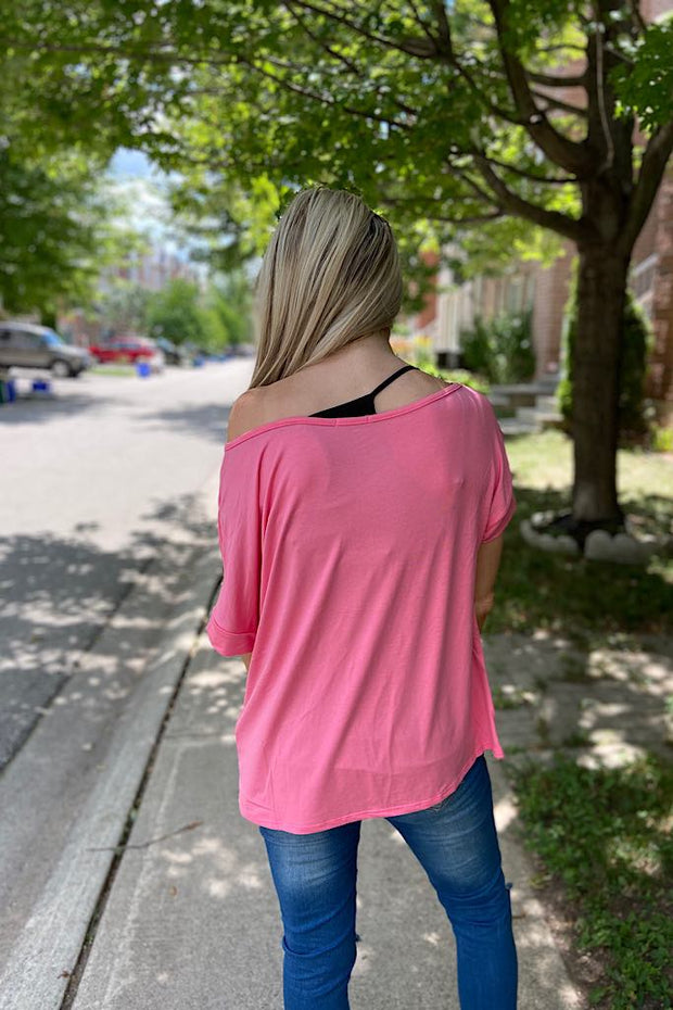 Candy Pink One Shoulder Top