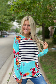 Aqua Floral Striped Mixed Oasis Hoodie Top