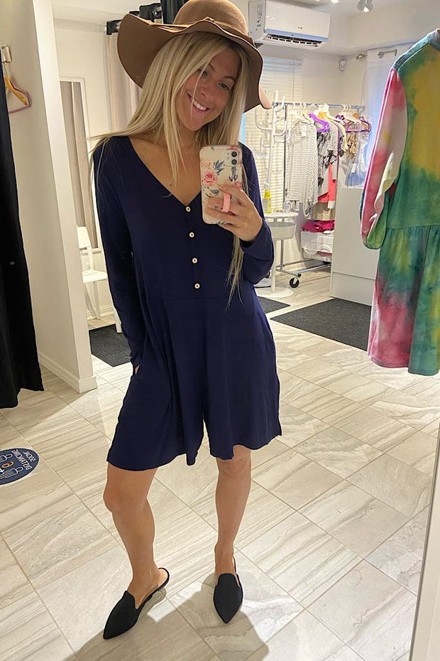Navy Sweeter Than Sugar Romper