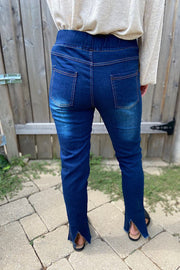 Take A Second Look Dark Distressed Denim Jeggings