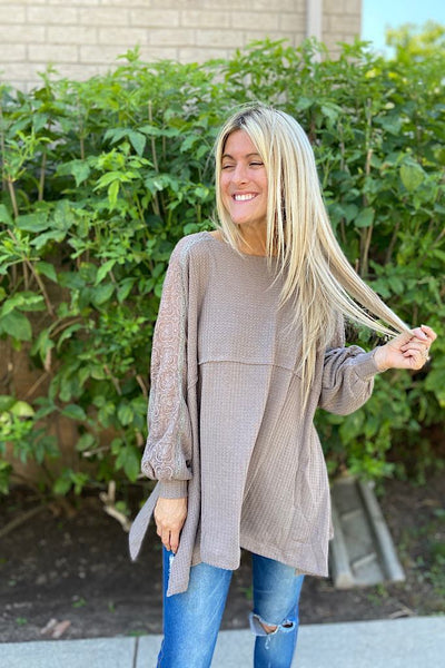 taupe lace fall top