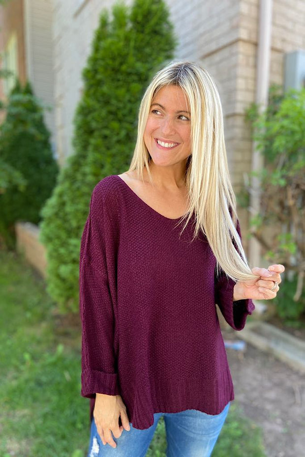 The Perfect Merlot Knit Sweater