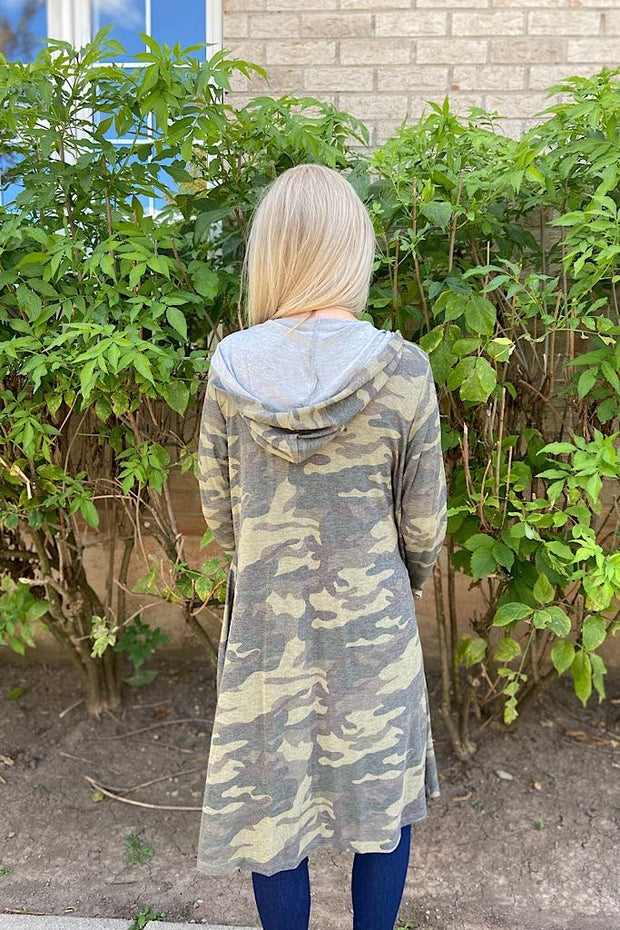 Effortless Camo Hoodie Cardigan