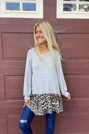 Pretty In Grey Soft Dressy Animal Contrast Tunic