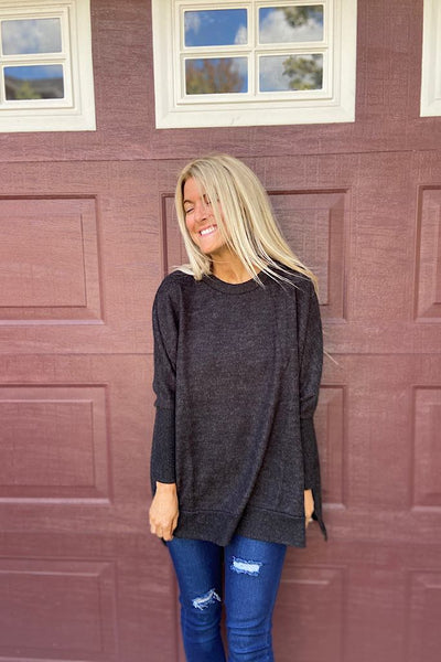 Charcoal Soft Brushed Boho Style Top