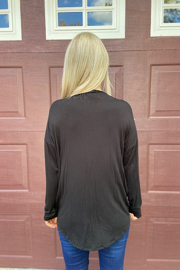 Black Ciara Wrap Top