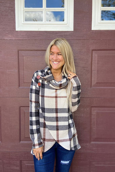 Plaid Soulmate Wrap Style Sweater