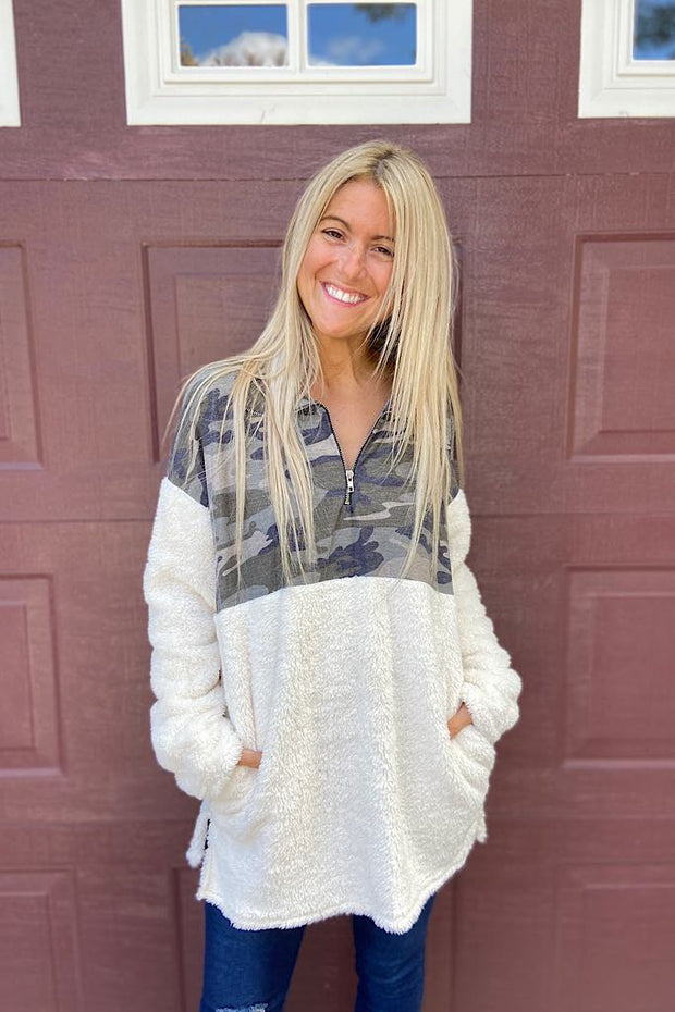 On Cloud 9 Sherpa Camo Sweater