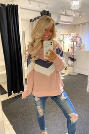 Sweet Like Candy Chevron Colour Block Pull Over