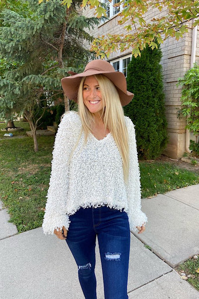Elite Ivory Popcorn Knit Sweater