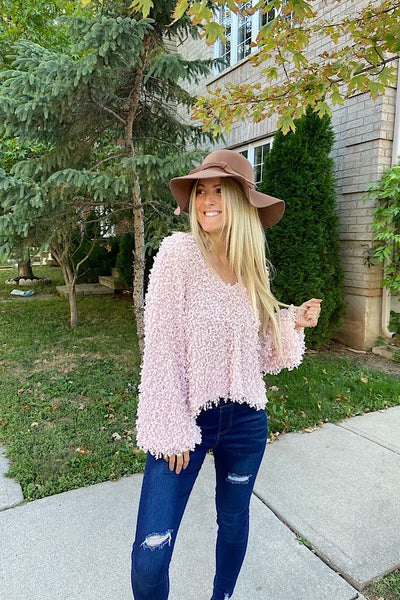 Elite Blush Popcorn Knit Sweater