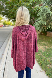 Burgundy Boho Poncho Sweater