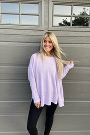 Lavender Brushed Eyelash Knit Top-New Colour