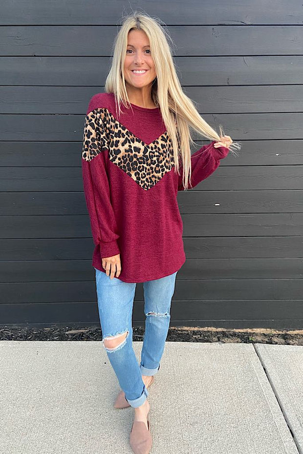 Burgundy Animal Print Contrast Top