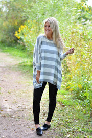 Ivory Striped Boho Soft Brushed Top