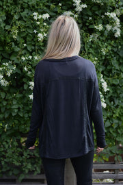 Lace Love Black Henley Top