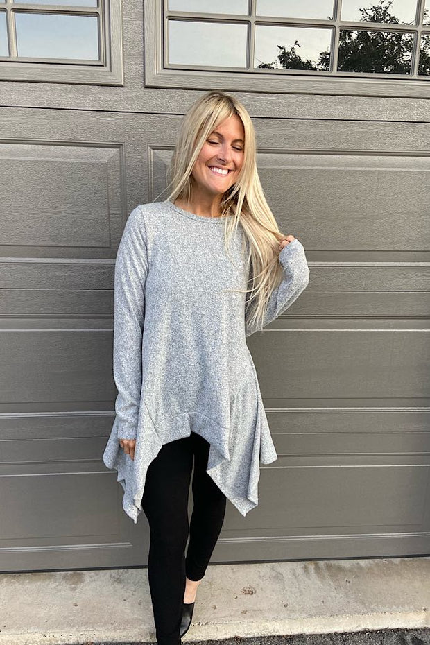 Grey Handkerchief Hem Top
