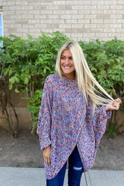 Purple Mix Poncho Sweater