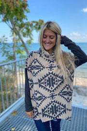 Soft Brushed Aztec Fever Cowl Neck Top