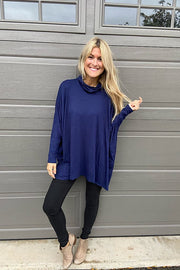 Beautiful Navy Boho Jersey Turtleneck