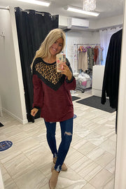 Burgundy Animal Print Colour Block Top