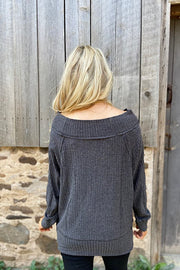 Versatile Charcoal Ribbed Top