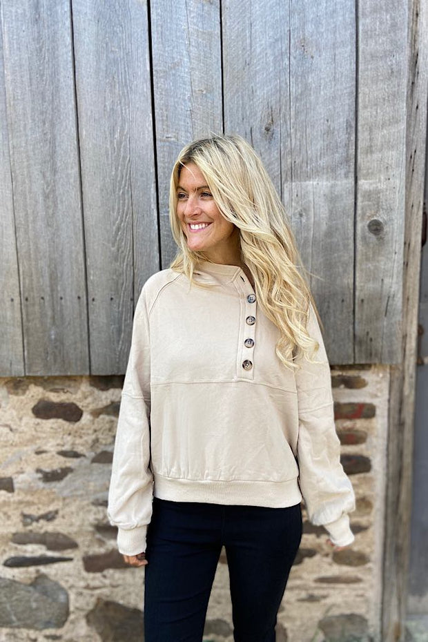 Asymmetric Button Down French Terry Hoodie