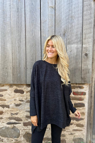 Sia Charcoal Soft Brushed Sweater Top