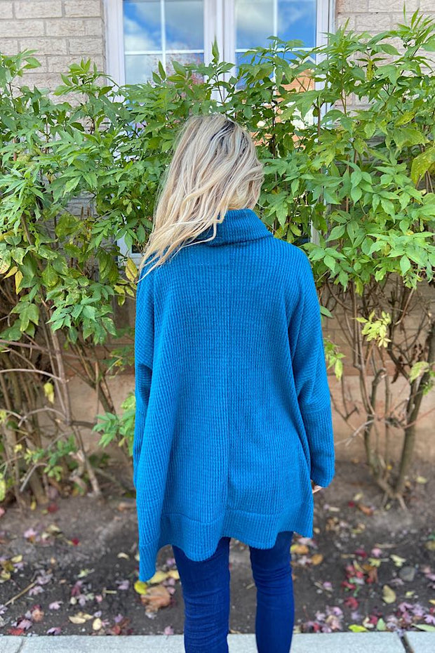 Teal Waffle Brushed Turtleneck Top