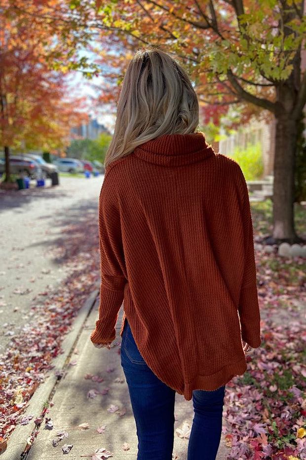 Rust Waffle Brushed Turtleneck Top