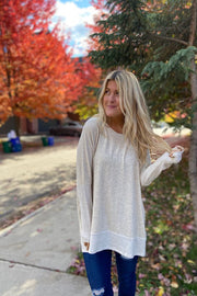 Maura Oatmeal Boho Top