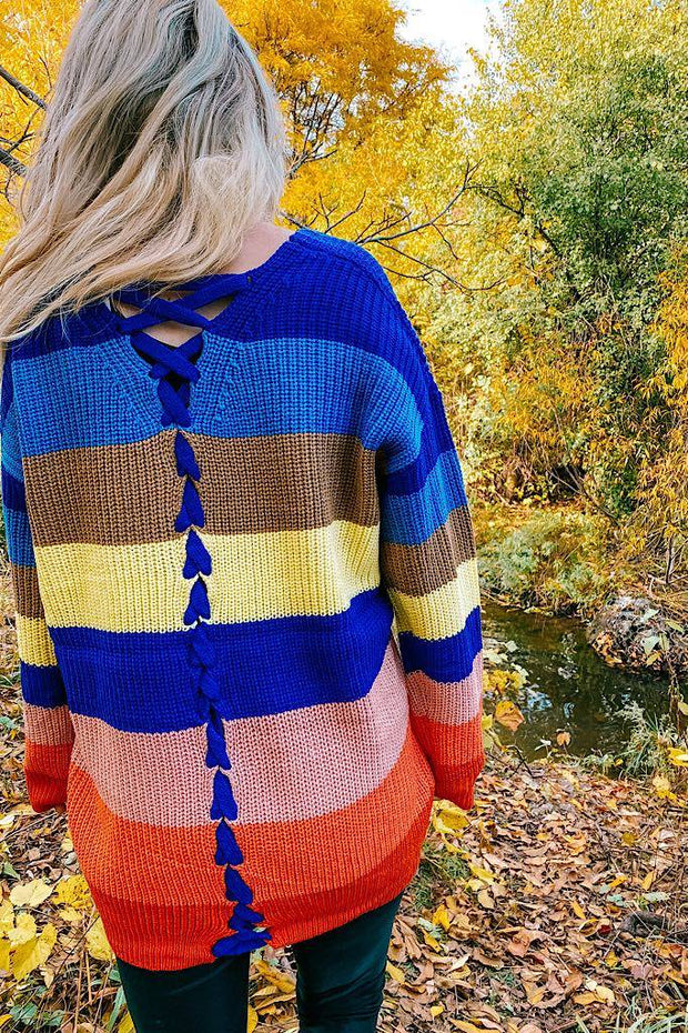 Oversized Colour Block Knit Sweater