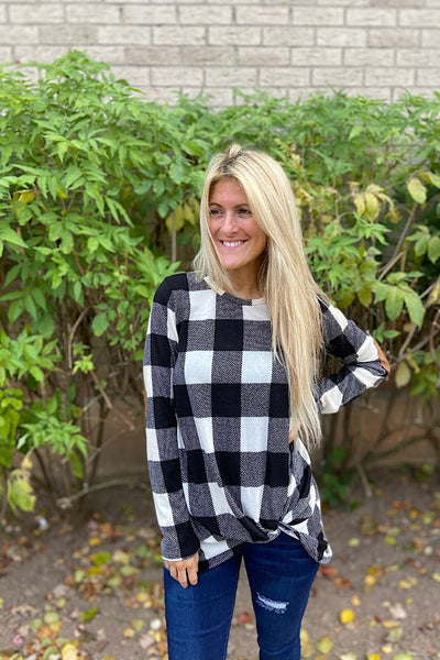 Classy Plaid Knot Elbow Patch Top