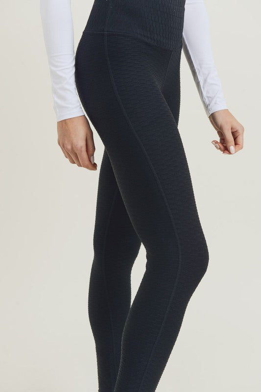 Black Textured Lyrca-Blend High Waisted Leggings