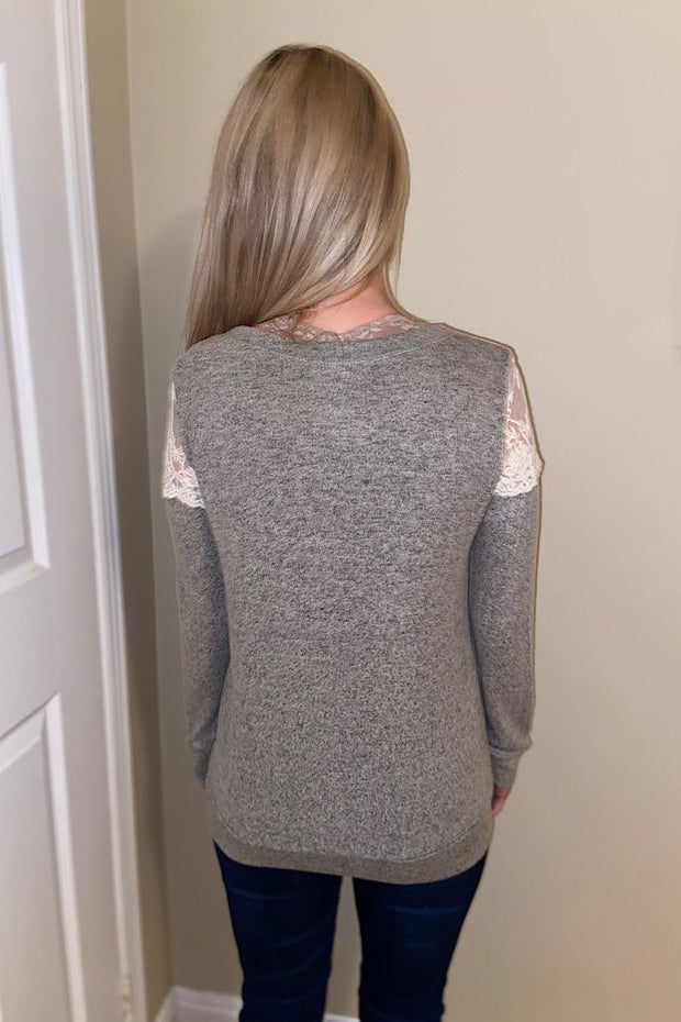 Lace Grey Contrast Top-Promo Line