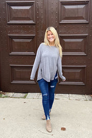Zipper Front Knit Tops-Grey