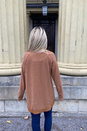 Zipper Front Knit Tops-Camel