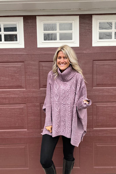 Envy Knit Turtleneck Sweater-Lilac