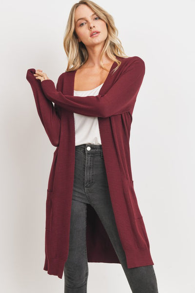 Burgundy Open Front Holiday Cardigan