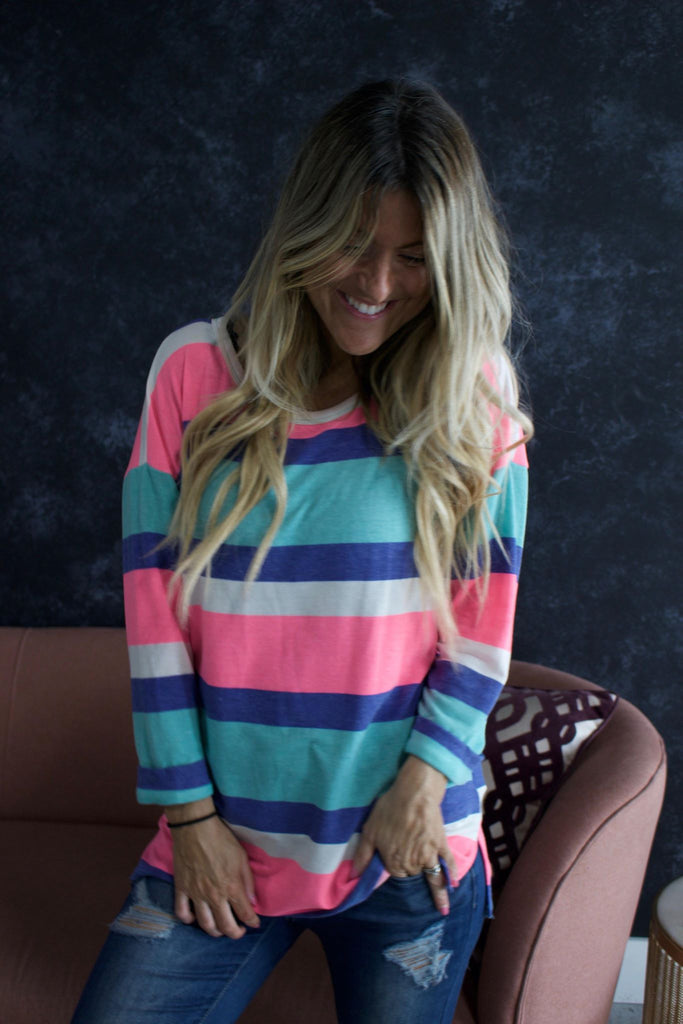 Pink Neon Striped Love Top - women's clothing