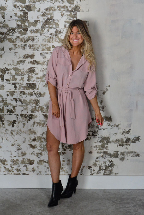 Pink Italian Flattering Button Down Dress Love Collection - women's clothing