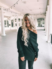 Black Luxe Knit Style Slouchy Sweater