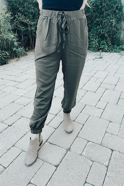 Dressy Olive Button Side Pants