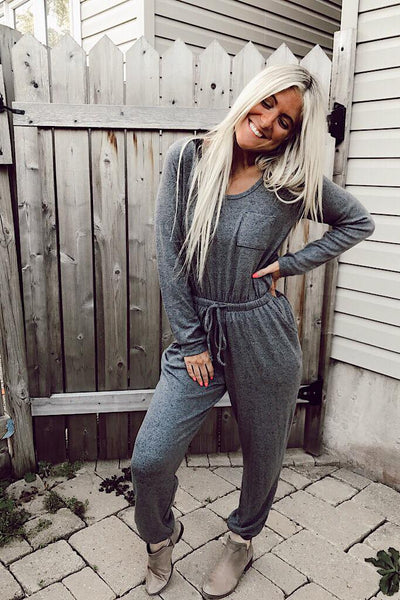 Charcoal Cozy All Weekend Jumpsuit