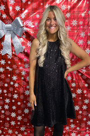Classic Black Holiday Sequin Dress